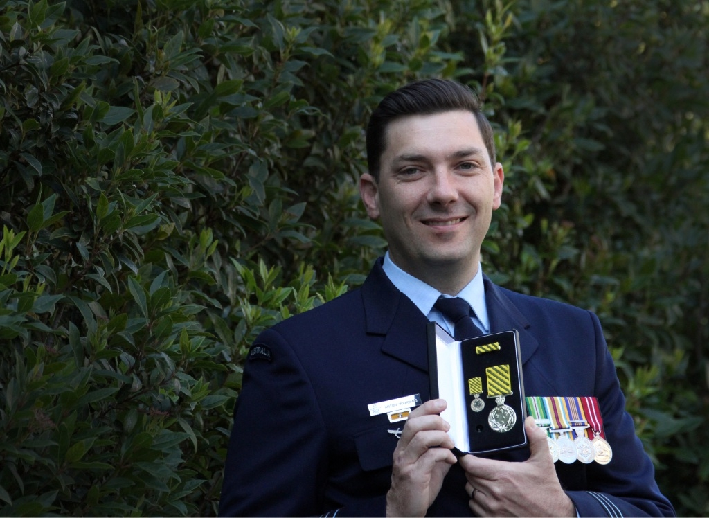 Air Force engineer Anton Vojkovic with his Conspicuous Service Medal. Picture: Robin Kornet d443730