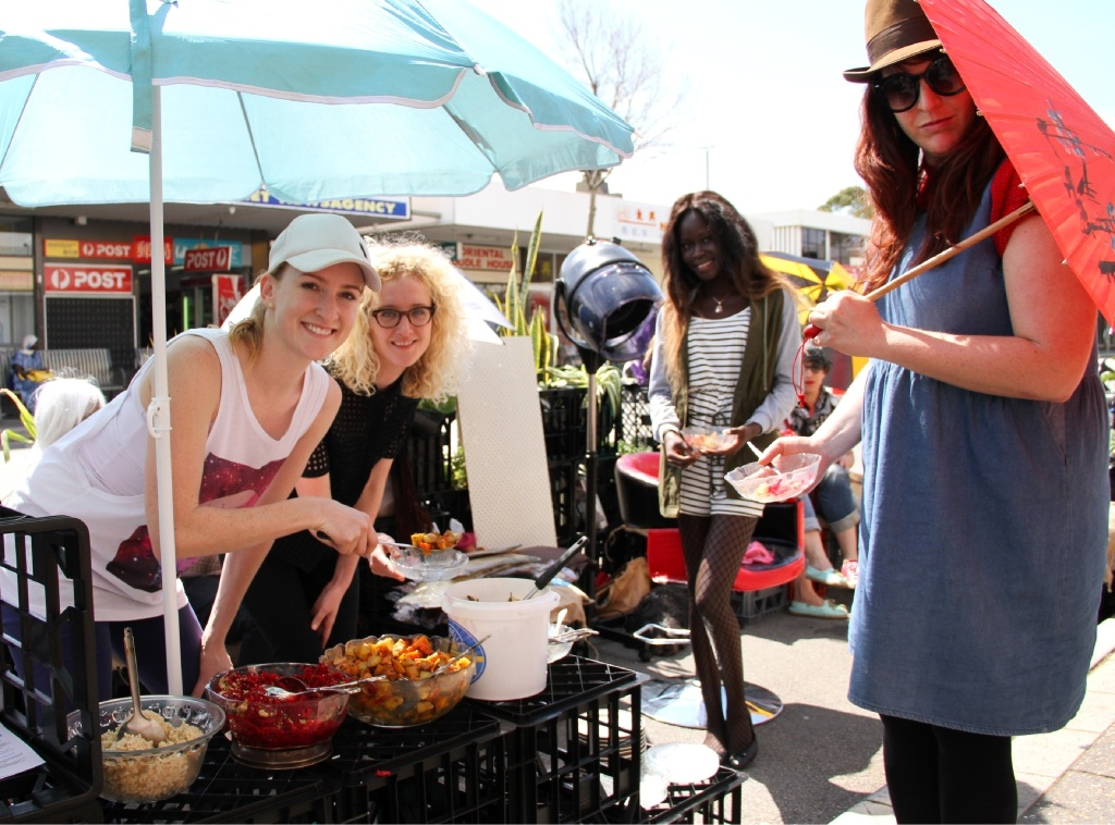 Anna Lupton, April Gilbert, Alice Unzowa and Jasmine May at the annual Park(ing) Day.Picture: Robin Kornet        www.communitypix.com.au   d443759
