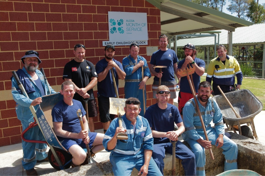 Alcoa Month of Service volunteers ready to help out at Dwellingup Primary School.