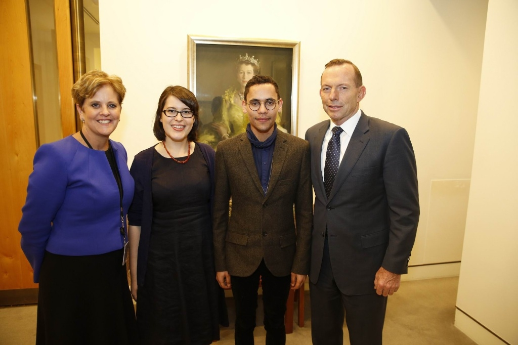 High Commissioner Menna Rawlings, UWA graduate Aurora Milroy, fellow scholarship recipient Jared Field and former Prime Minister Tony Abbott