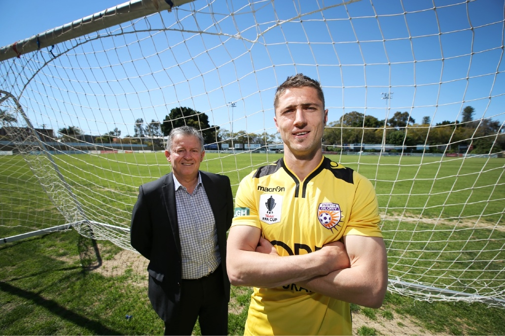 Perth SC president Gary Marocchi and Glory player Dino Djulbic. Picture: Andrew Ritchie     d443909