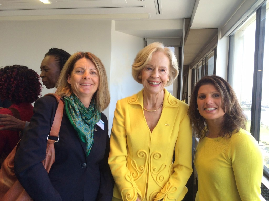 Allambee board members Caroline Knight and Marzel Norton at a recent Womens Networking Morning Tea in Perth with Special Taskforce on Domestic and Family Violence Queensland chairwoman Quentin Bryce.