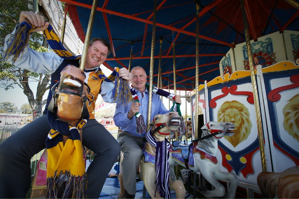 RAS CEO Peter Cooper and president Rob Wilson... there will be three areas in which to watch the AFL finals at the Royal Show.  Picture: Andrew Ritchie        www.communitypix.com.au   d443590