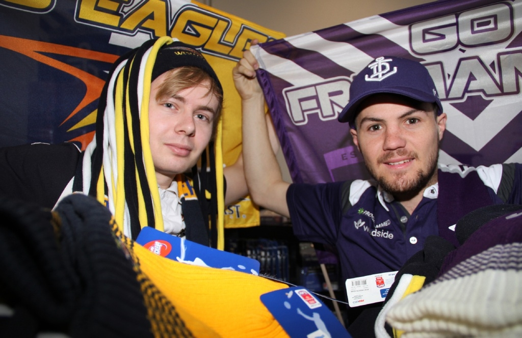 Mitchell Tighe and Dylan Cox show off some hard-to-get gear.  Picture: Robin Kornet        www.communitypix.com.au   d443953