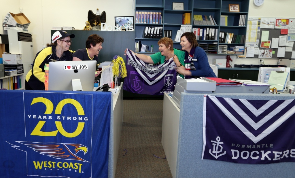 Administration staff Clare Stewart, Michelle Hysen, Sandra O'Neill and Karene Byrne share their rivalry. Picture: Martin Kennealey        www.communitypix.com.au   d443886