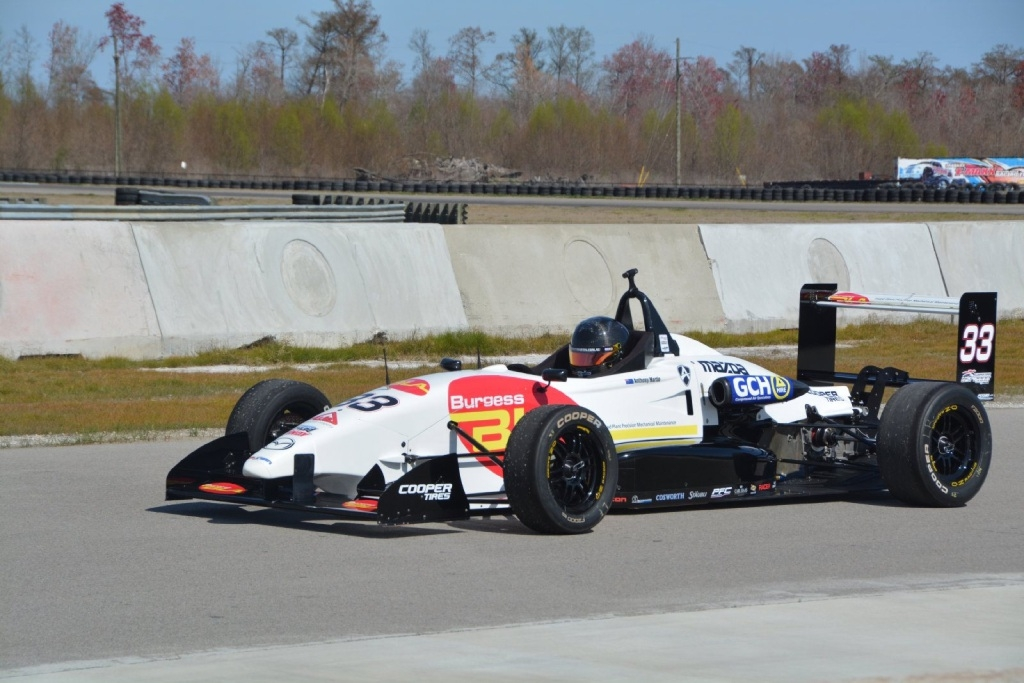 Anthony Martin at speed in his USF2000 racer.