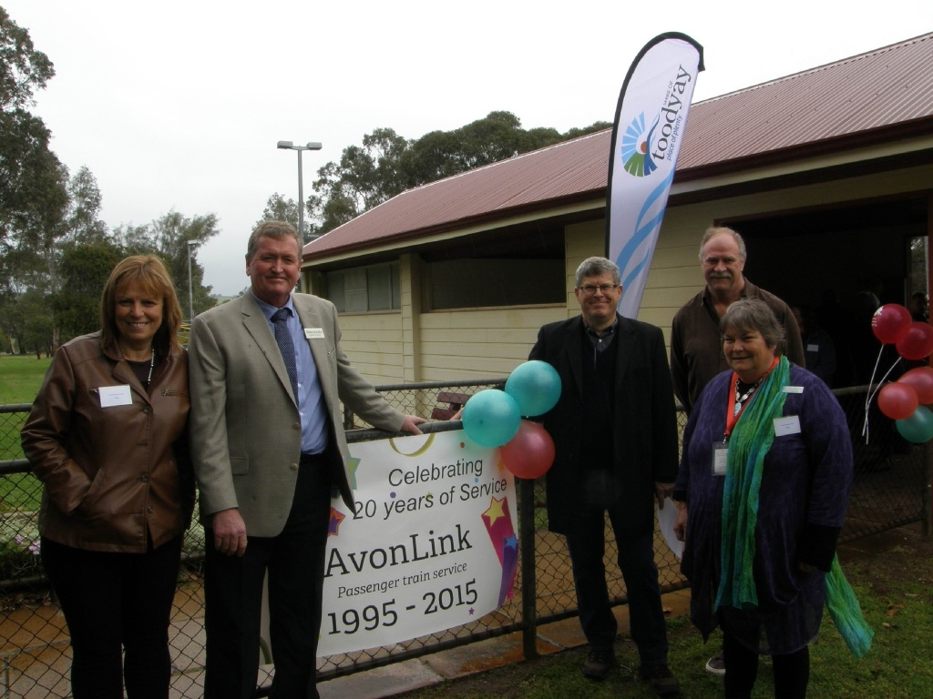 At the celebration were Toodyay shire councillor Paula Greenway, MLA Shane Love, shire chief executive Stan Scott, Transwa general manager Tim Woolerson and Cheryl Wiltshire.