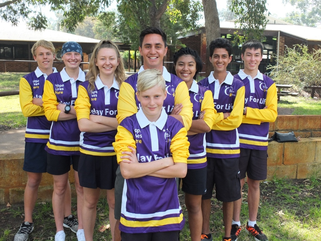 Warwick Senior High School students are doing the Relay for Life for a teacher who recently died of cancer. Pictured are Zack Breen (front) and teacher Andrew Neho with (left) Jasmine Wallace, Taylah Kenny and Lewis Crowford. On the right are  April Htun, Raman Saini and Gareth McDonald.