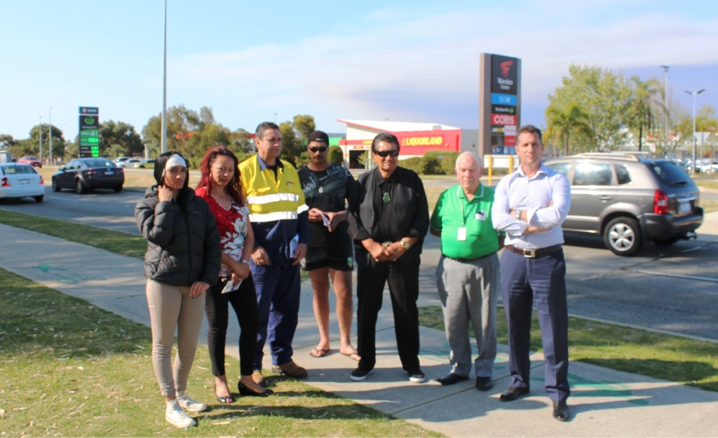 Concerned locals Natalia Barrett, Tina Tuira, Paul Waldron, Haami Barrett, Jake Moanaroa and Tony Gale with MLA Paul Papalia.