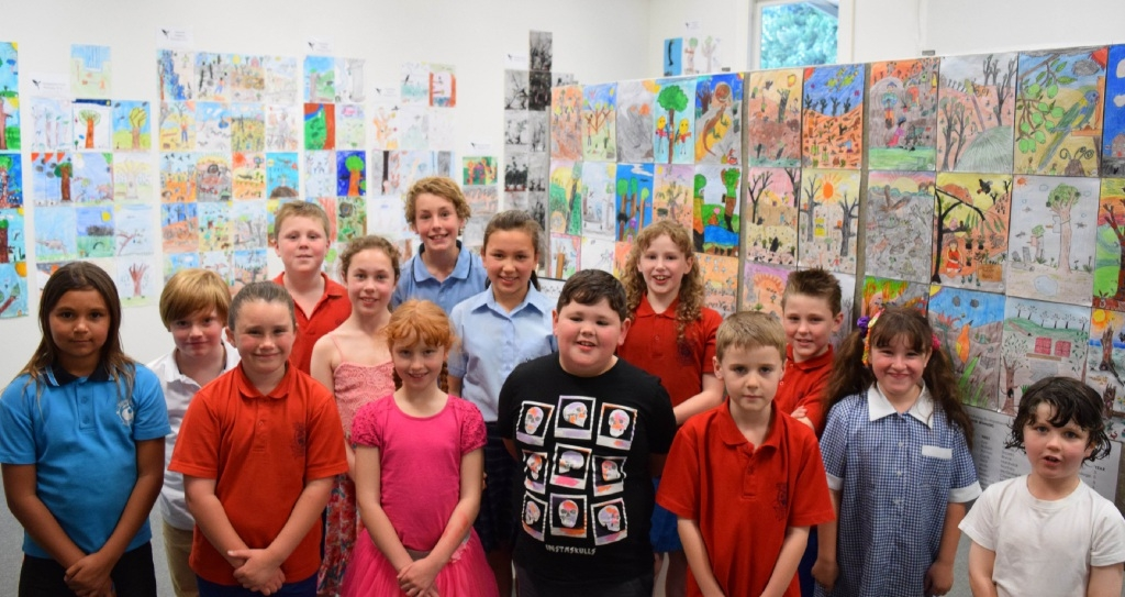 The Mundaring school children whose work was named a winner in the environmental art project banner competition.