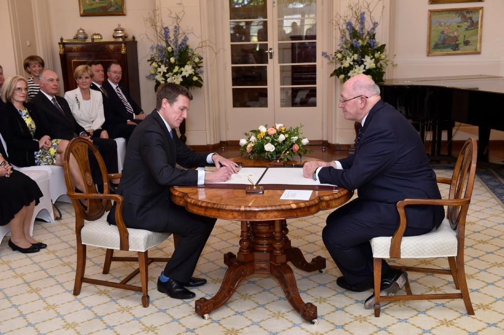 Pearce MHR Christian Porter and Governor General Peter Cosgrove.