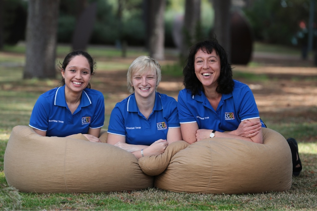 Occupational therapy students Lynelle Pretorius,Christina Bothwell and Letitia Dose.Picture: Martin Kennealey                                           www.communitypix.com.au   d444266