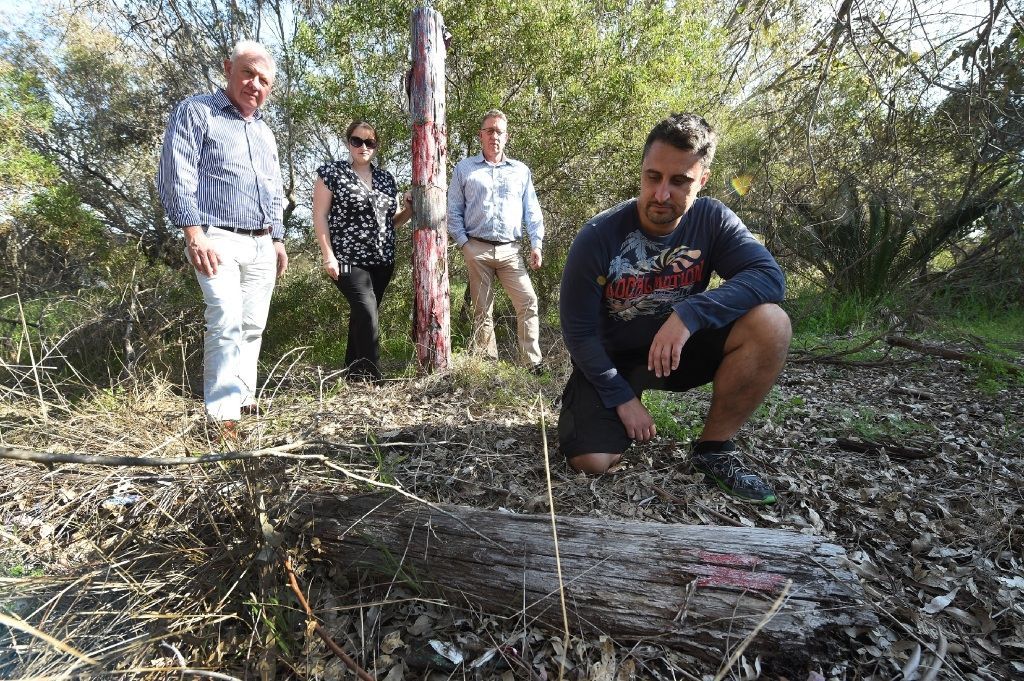 Cockburn MLA Fran Logan and other offcials examining one of the art works.Picture: Jon Hewson d443999