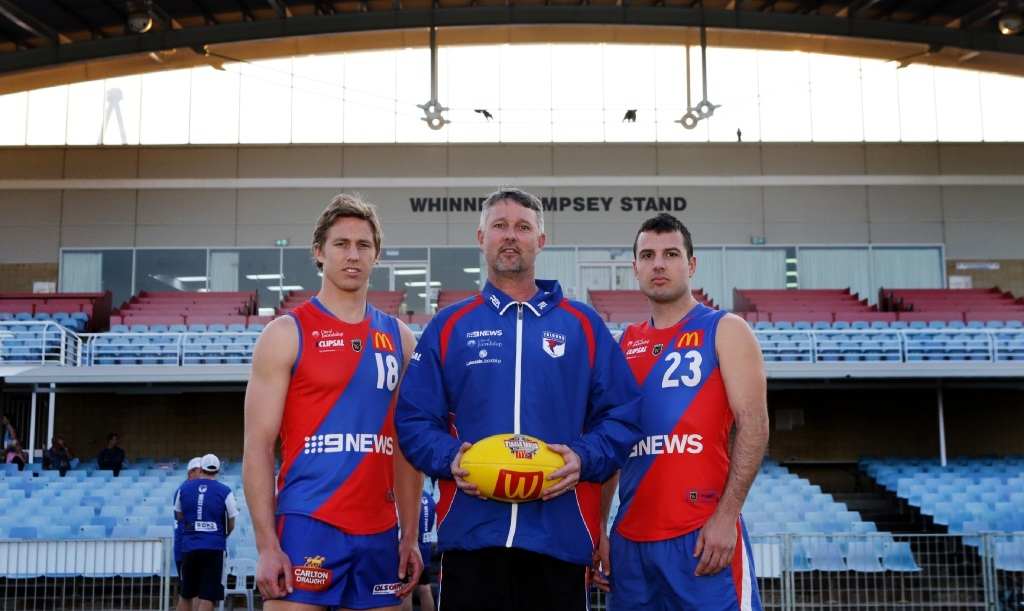West Perth Football Club coach Bill Monaghan with co-captains Jay van Berlo and Luke Tedesco ahead of training on Tuesday night. Picture: Martin Kennealey           d444092