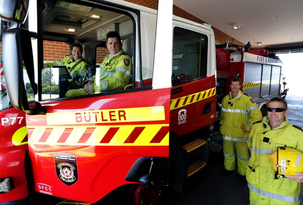 Butler firefighters Ken Davison, Paul Hughes, Pat Riley and Kevin Fairbrother are gearing up for their open day on October 24. Picture: Martin Kennealey         www.communitypix.com.au   d441852