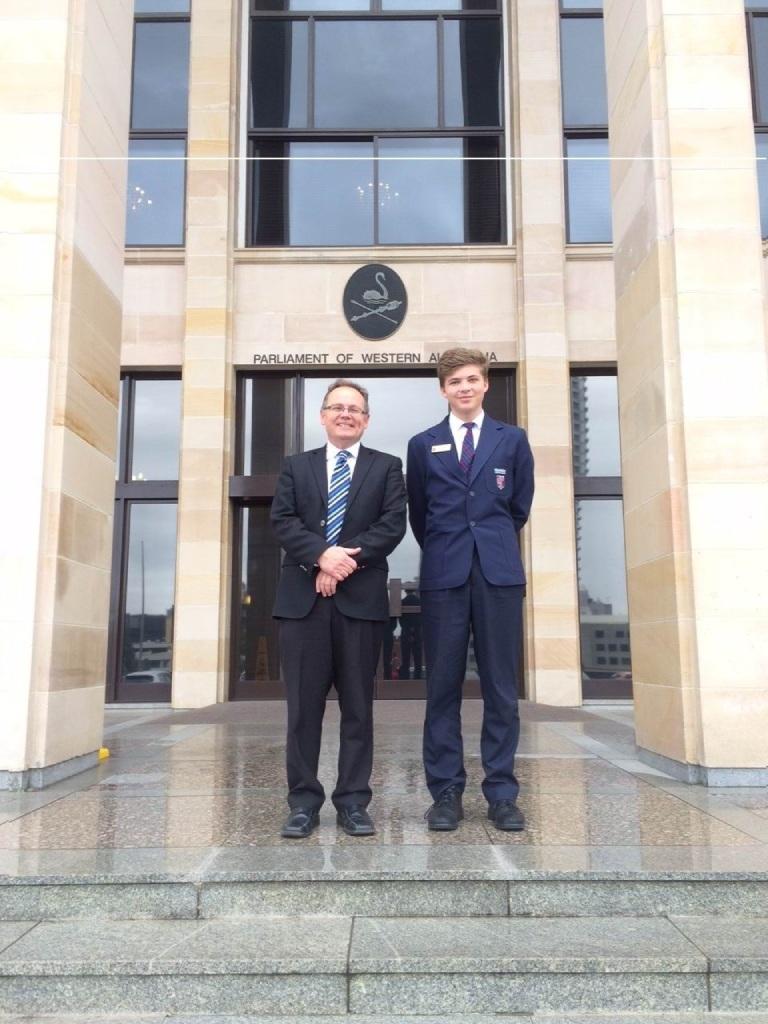 Mandurah MLA David Templeman and Connor Rehm outside Parliament House.