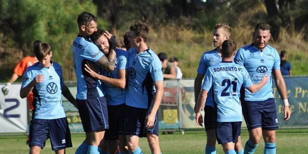 Sorrento players celebrate a goal. Picture: Peter Simcox