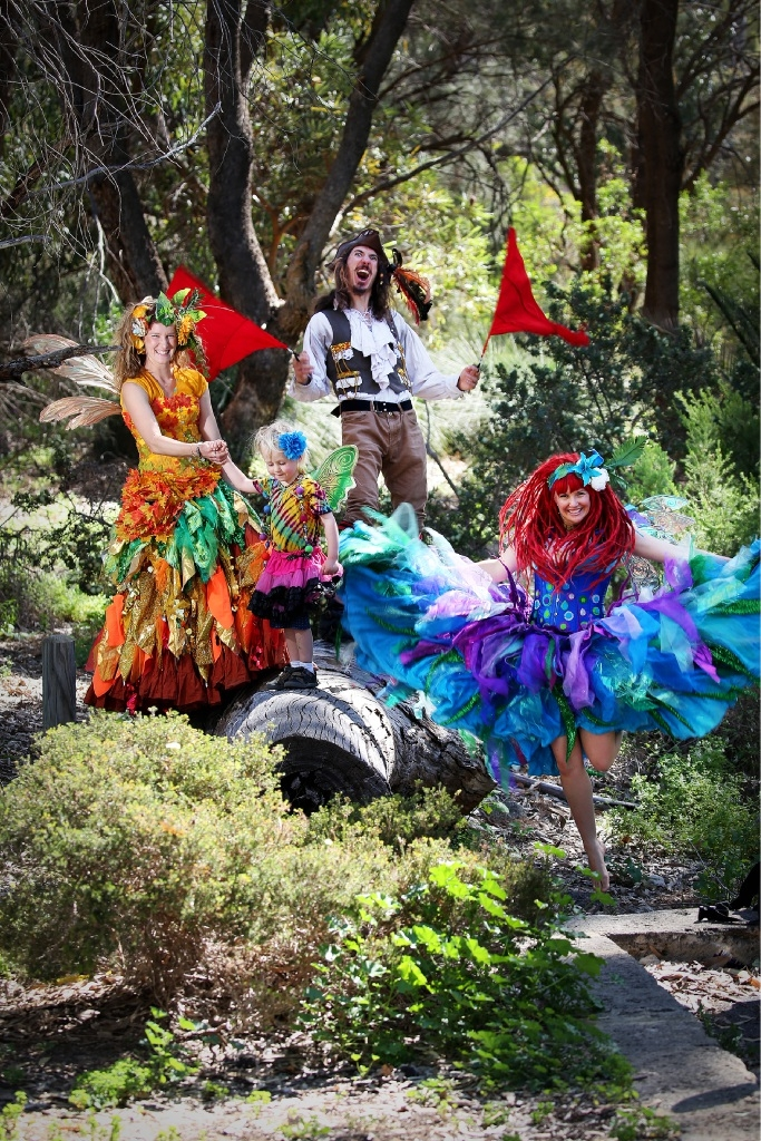 Faerie Megan, with River Walker (3), Pirateman Michael and Faerie Cara. Picture: Andrew Ritchie d444191