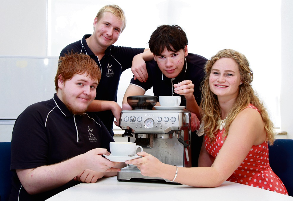 Darci Miller with Year 10 students Liam Edwards, Brendon Corby and Luke Tuhakaraina. Picture: Marie Nirme    d466629