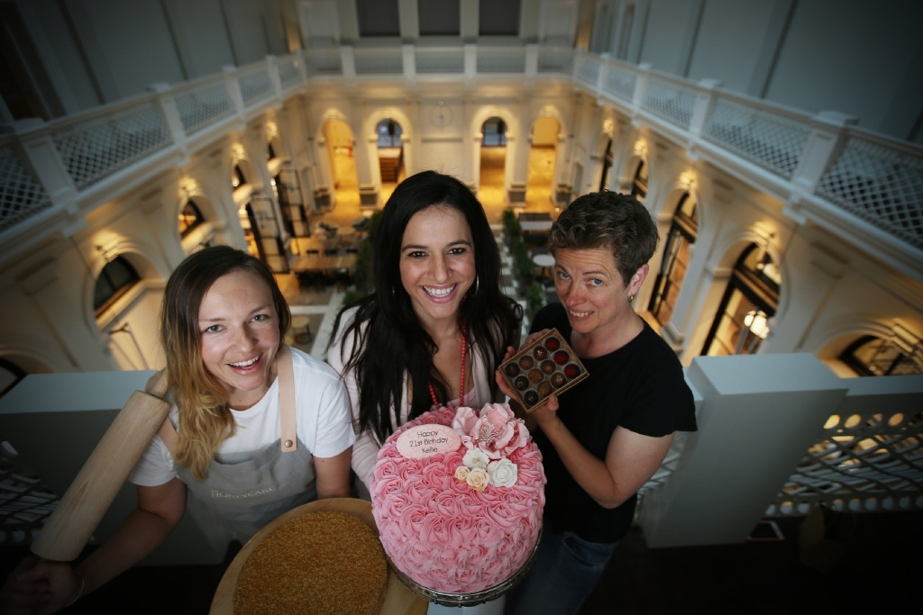 Simona Kapoun, from The Honeycake, Flavia Harris, from Sugarplum Sweets, and Sue Lewis, from Sue Lewis Chocolatier. Picture: Andrew Ritchie www.communitypix.com.au   d444180