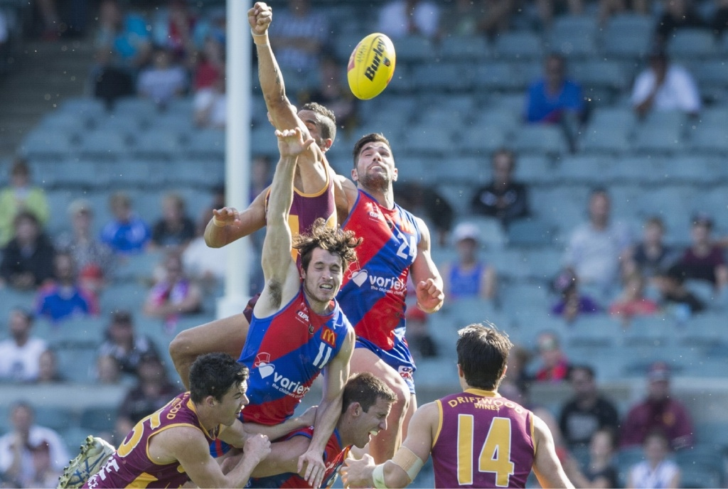 Marcus Adams and Shane Yarran contest a flighted ball. Picture: Dan White