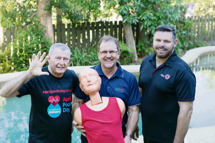 Kids Alive founder Laurie Lawrence, Poolwerx chief executive John O'Brien and Australian Red Cross representative Russell Crawford.