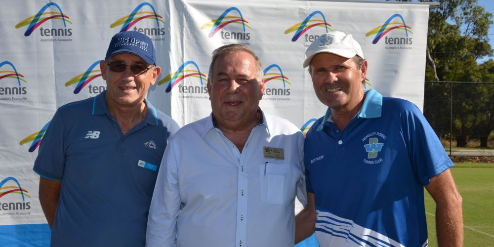 Tennis West president Wayne Firns, City of Stirling Mayor Giovanni Italiano and Wembley Downs Tennis Club president Peter Doherty.