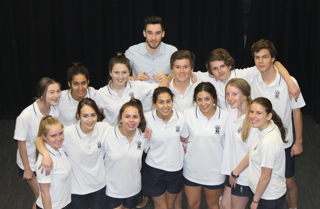 Mater Dei College Year 10 drama students with the Theatrical Response Group's (TRG) Scott Corbett.