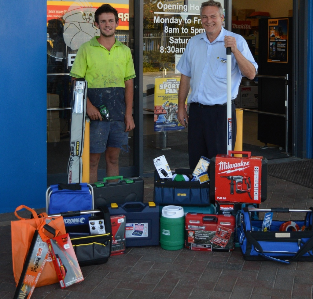 Jack Wilson with Ian Paterson from Toolmart. Picture: Leah Culver