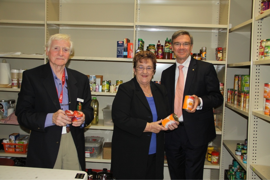 Coastal District Care Inc. Secretary Jim Smeaton, Chairperson Gillian Harris and Brand MP Gary Gray.