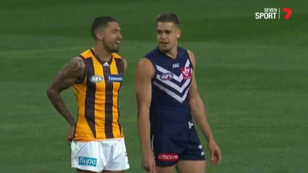 Oh brother: Stephen and Bradley Hill do battle in the AFL preliminary final. Picture: Channel 7