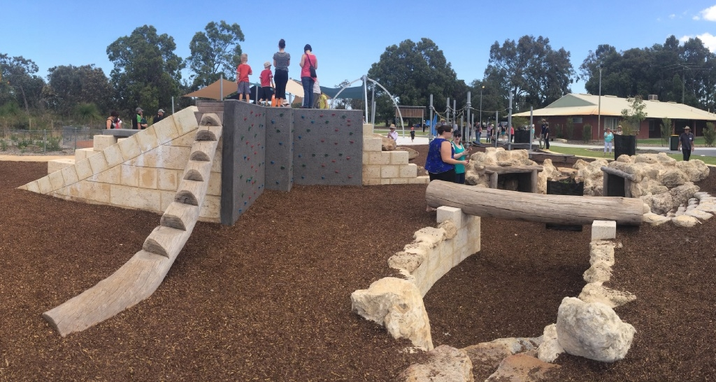 An example of the natural style of play equipment – a different design using similar equipment is planned for the Comito Bend park.