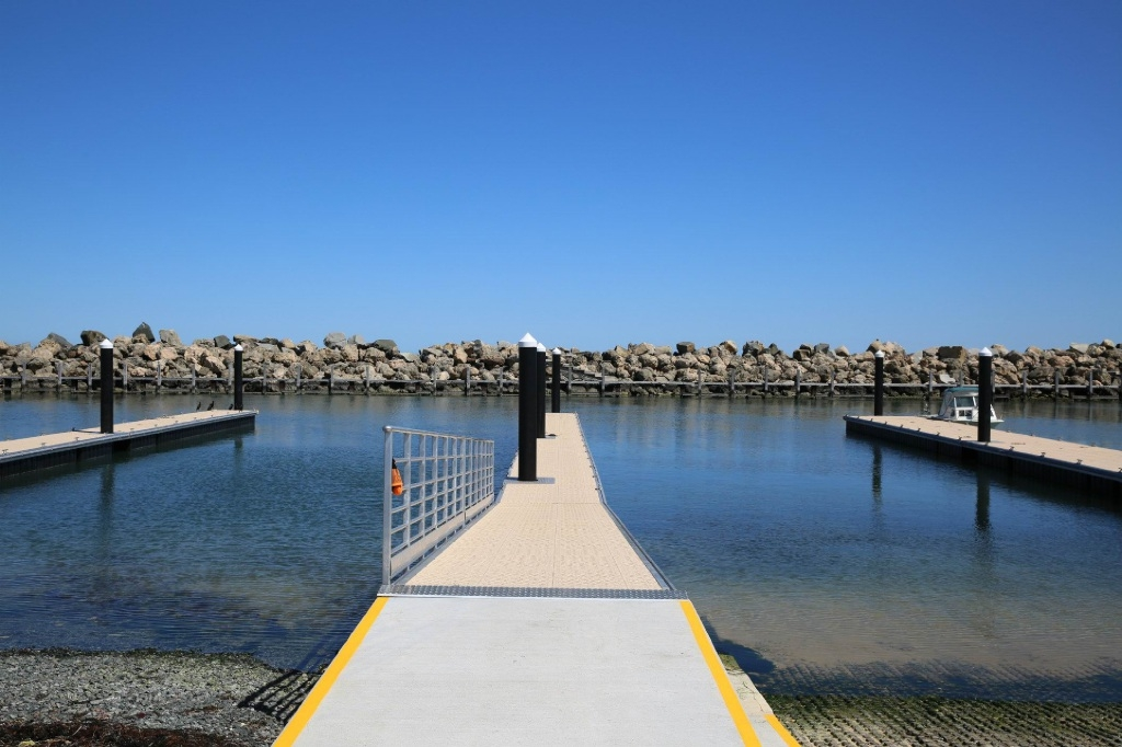 The upgraded jetties at Ocean Reef Boat Harbour
