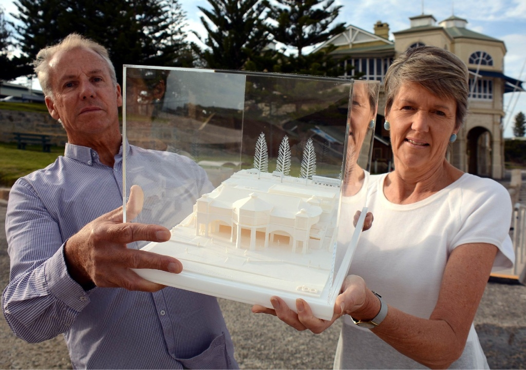 Cottesloe Mayor Jo Dawkins and architect Simon Rodrigues hold a model of a revamped Indiana Cottesloe. Picture: Jon Bassett.
