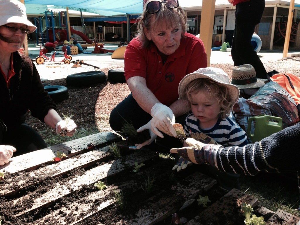 Bunnings horticulturalist Cherie Holmes with Albie Livesley.