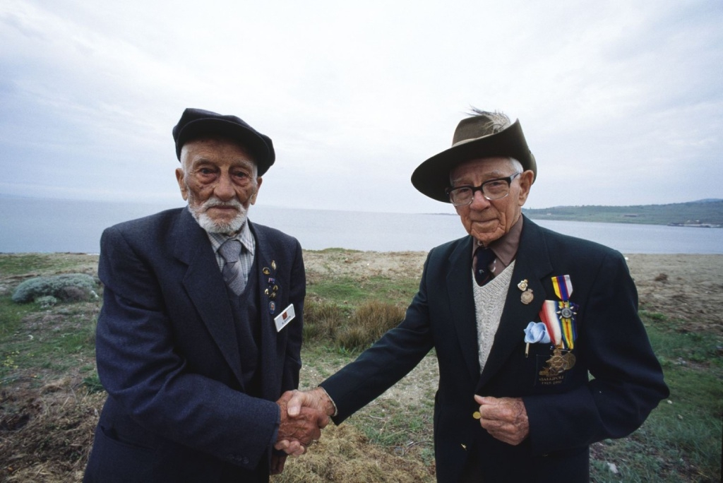 Turkish veteran Adil Sahin and Australian Len Hall met for the first time in 1990 on the |Gallipoli battlefield where they fought as |enemies in 1915, when Adil was just 17 and Len only 16.