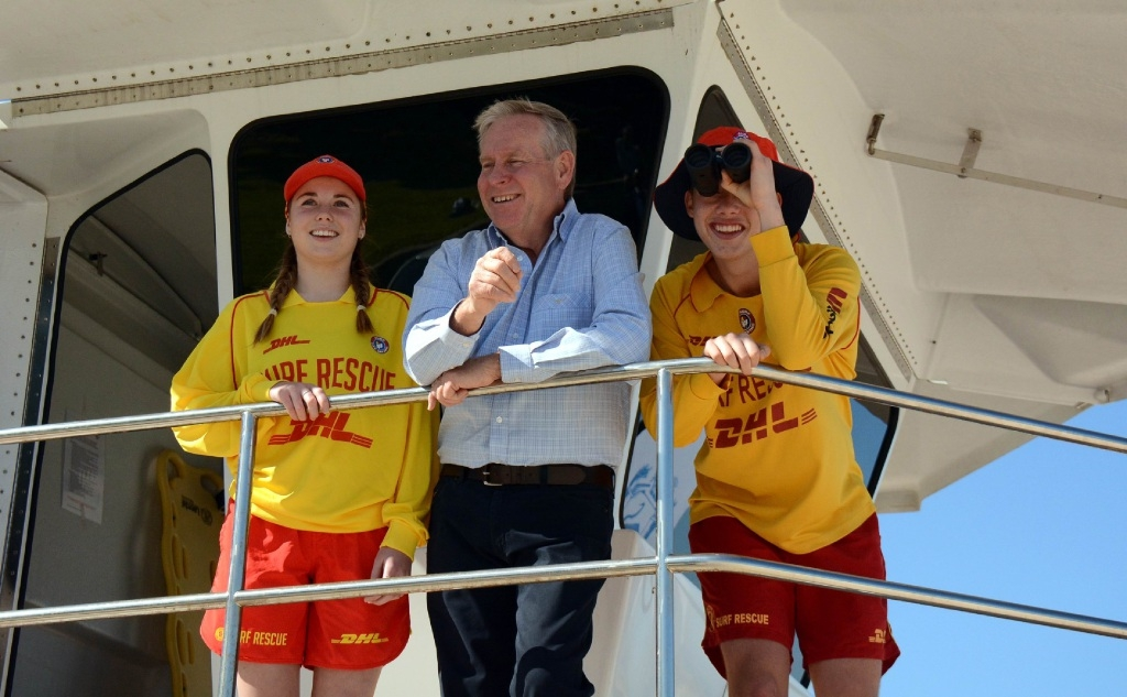 Premier Colin Barnett with Cottesloe SLSC members at the launch of the new patrol season.