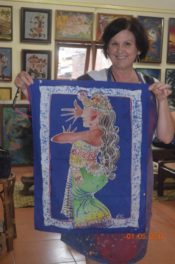 Artist Vicki Bulliard with one of her textile artworks.