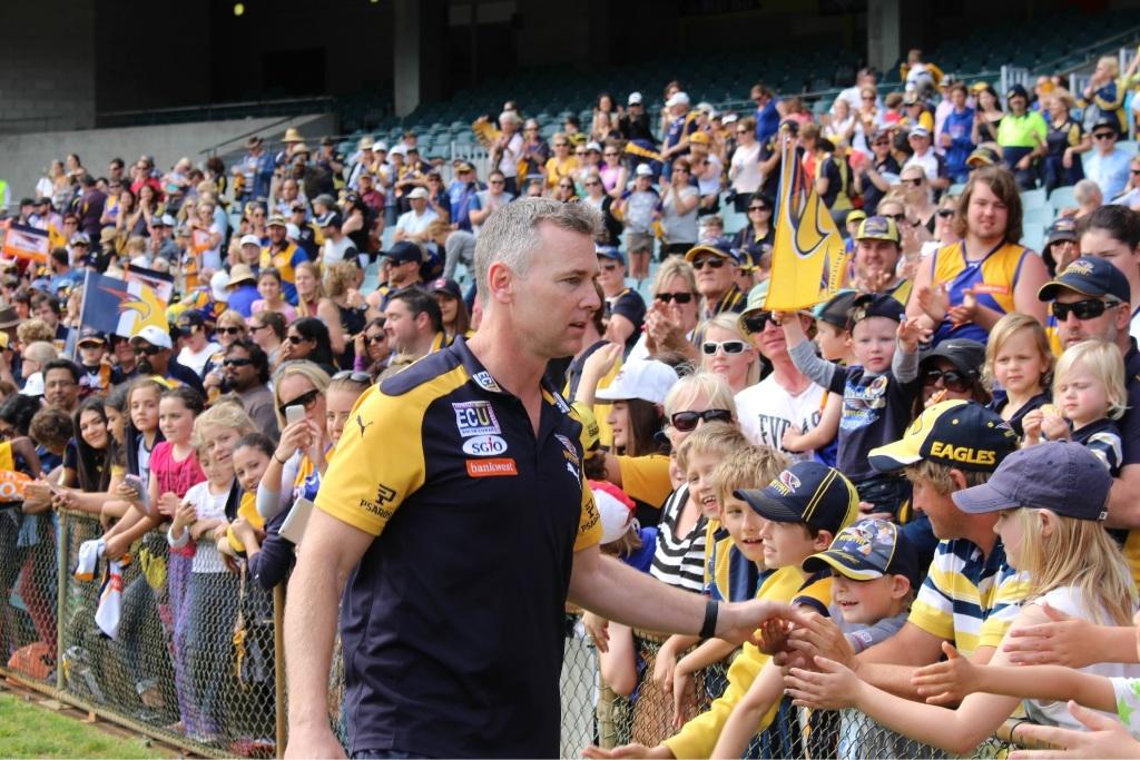 West Coast Eagles coach Adam Simpson greets fans. Picture: Joel Kelly.