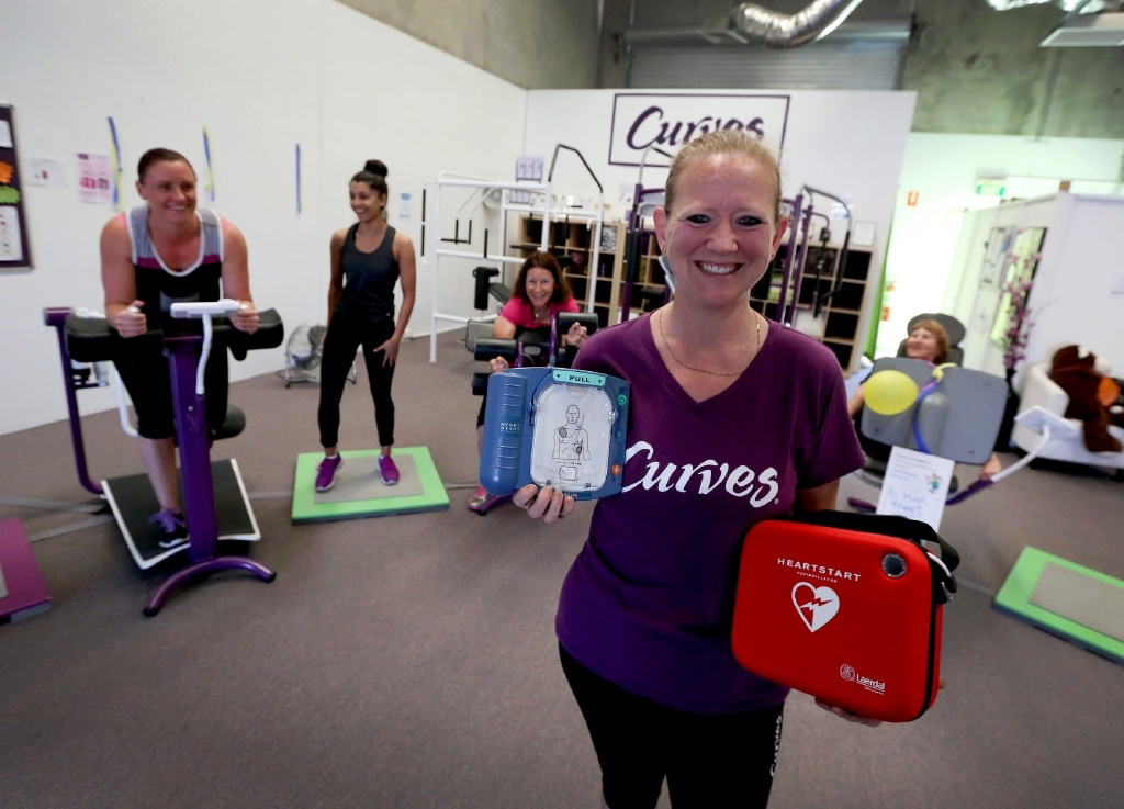Julie Marian at Curves in Willetton, which has raised enough money to buy a defribillator. Picture: Matt Jelonek d444187