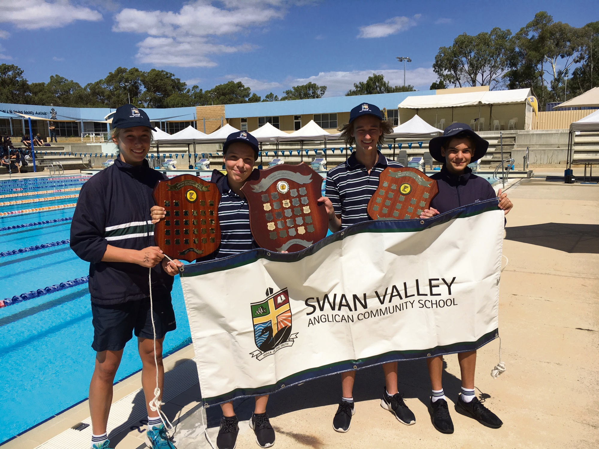 Swan Valley Anglican Community School students Anneka West, Alexia Pavlovic, Zane Pendreigh and Andre Pavlovic celebrate their win.