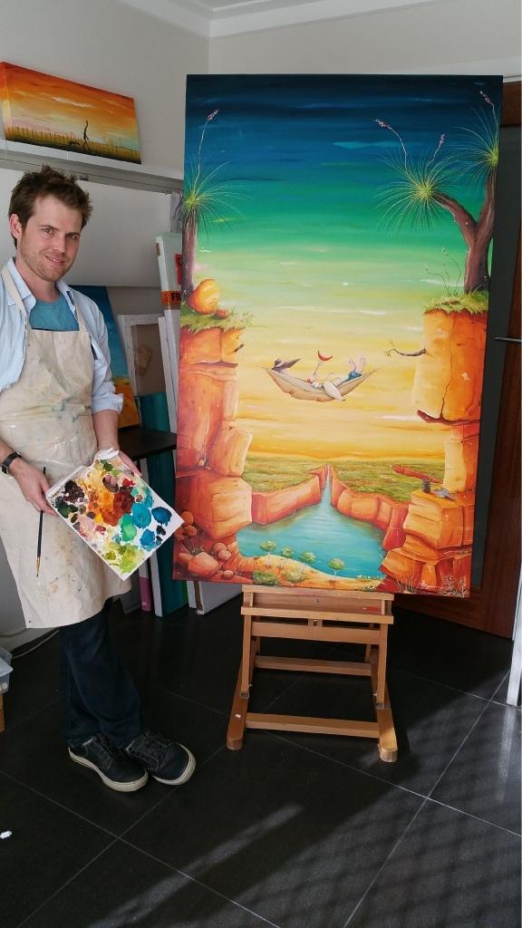 Peter Ryan with his painting Kimberley Kip.