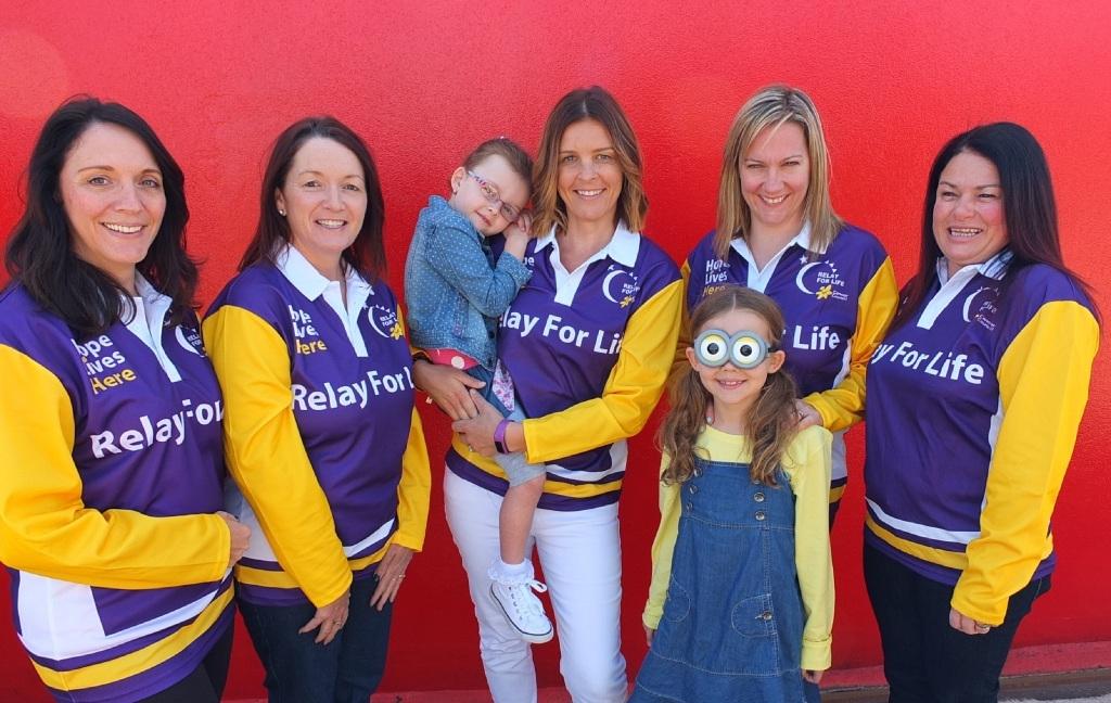 Melanie Davies, Caroline Dobbs, Melanie Swanson with Lexi, Michelle Cullender, Sharon Carter and Minion Mascot Millie Cullender.