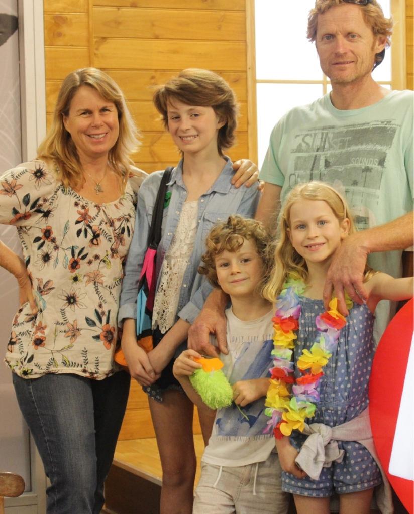Mum Nicole Buschgens, Isabella (13), Clayton, Jake Weeden (5) and Georgia Weeden (7).