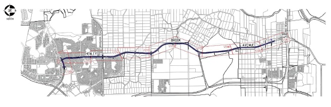 A map of the proposed extension to Henley Brook Avenue.