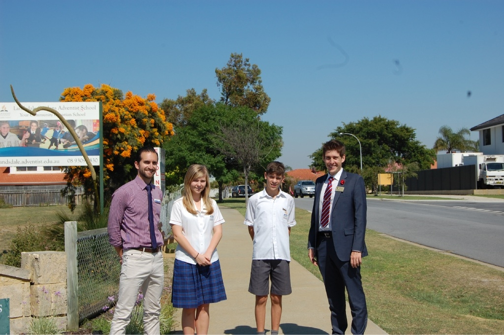 Landsdale Christian School principal Mark Foster, students Lauren Pickett and Cody Dalliston and Wanneroo councillor Domenic Zappa.