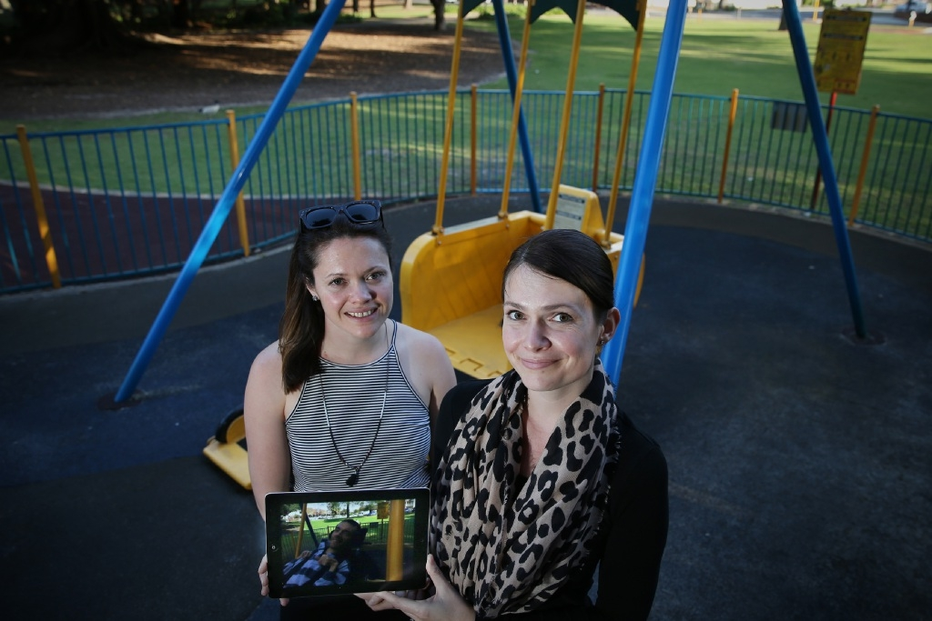 Sisters Brooke Lee and Alex Taylor are fundraising to build a wheelchair swing.  Picture: Andrew Ritchie        www.communitypix.com.au   d444522