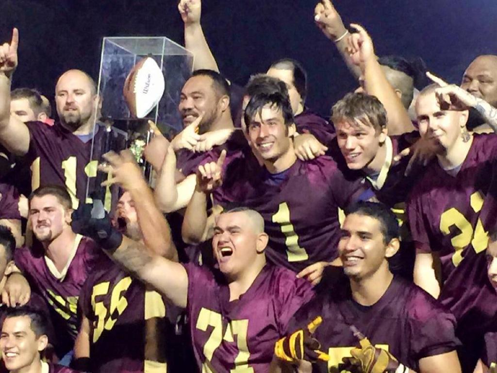 Jubilant Rockingham Vipers players celebrate winning the 2014/15 West Bowl.