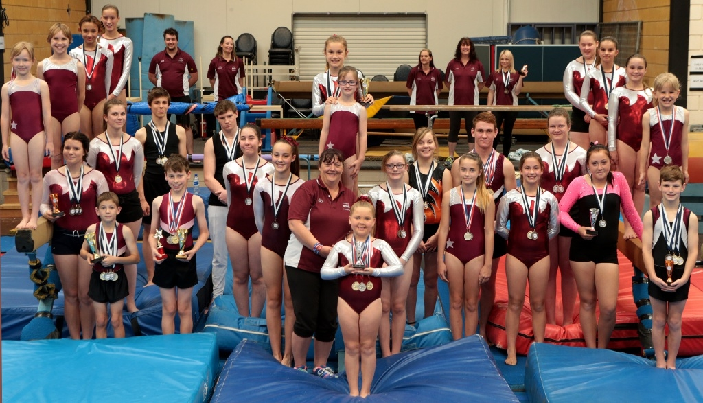 Gosnells PCYC gymnastics head coach Nia McCully with coaches and gymnasts.|Picture: Martin Kennealey        www.communitypix.com.au d444602