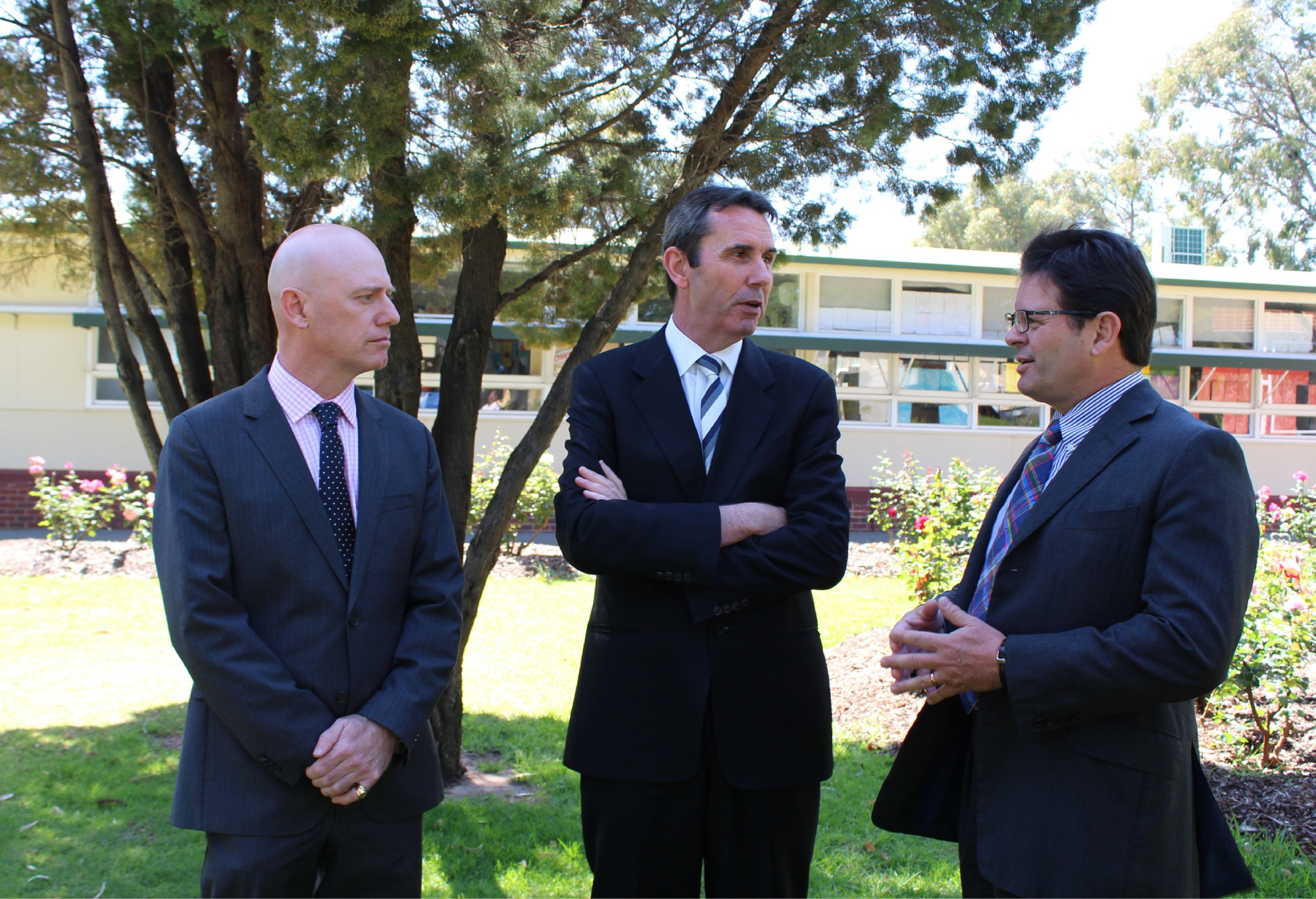 Churchlands MLA Sean L'Estrange, Education Minister Peter Collier and Town of Cambridge Mayor Simon Withers at the announcement this morning.